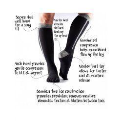 ToeSox sokken met tenen Zoe Compression   Zwart/Grijs