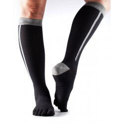 Compressiekousen teen sokken ToeSox Zoe – Zwart Grijs