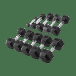 Body-Solid Hexa Rubber Dumbbell Set 1 -10 kg + opbergrek