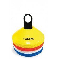Toorx Agility Cones Set van 24 stuks - met rek - Geel/Rood/Wit/Blauw